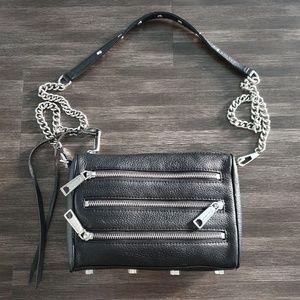 Rebecca Minkoff black leatger shoulder chain bag